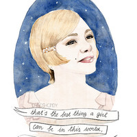 Daisy Buchanan watercolour portrait PRINT The Great by ohgoshCindy