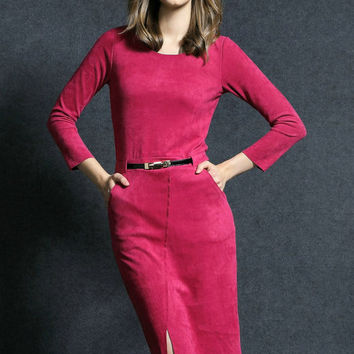 Rose Red Long Sleeve Drawstring Pockets Midi Slit Pencil Dress