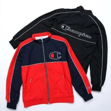 Champion Fashion jacket, young self-cultivation Baseball Jacket, red and red stitching leisure coat Black