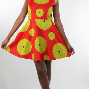 African Print Circular Midi Dress - Red/Yellow Concentric Print