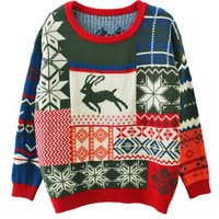 Knit Sweater with Christmas Reindeer