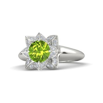 Round Peridot Platinum Ring with Diamond