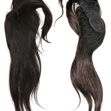 "VIP Collection Perfect Bang Closure Indian Silky Straight 12"" Natural Black Virgin Hair"