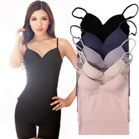 Hot new Hot Women's Underwear Sleepwear Set slim solid color chip seamless bra spaghetti strap no vest corset bustier top = 1716092484