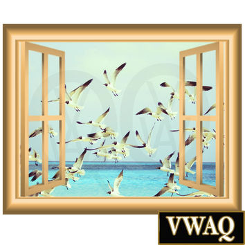 Flock of Birds 3D Window Frame Vinyl Decal Wall Art Ocean Birds Wall Decor Peel and Stick VWAQ-NW83
