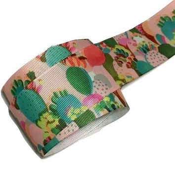 "Light pink cactus printed 1.5"" grosgrain ribbon"