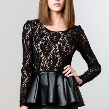 Blaque Label Lace Peplum Top