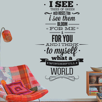 Louis Armstrong Wall Quote Sticker  Wonderfull by decalSticker