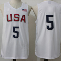 #5 Player 2016 USA Dream Team Jersey White Basketball Jerseys High Quality Men's Basketball Shirts Athletic Outdoor Apparel Hot Sale