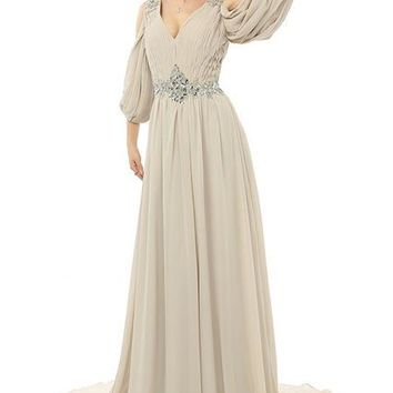 New Arrival Long Sleeve V Neck Chiffon Backless Beaded Prom Dress Floor Length Special Occasion Dress