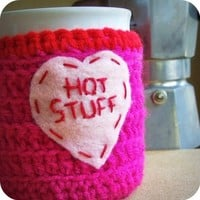 Coffee Mug Cozy Tea Cup Funny Hot Stuff crochet by KnotworkShop