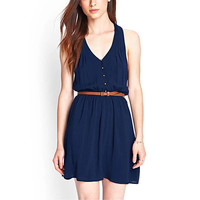 Dark Blue V-Neck Chiffon Dress With Belt
