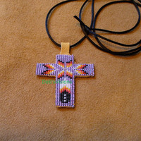 Native American Style loom beaded Cross necklace in Lavender