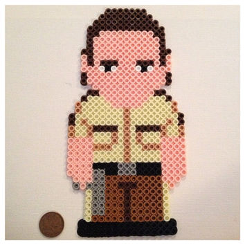 Rick Grimes Large Perler Art / Magnet The Walking by K8BitHero