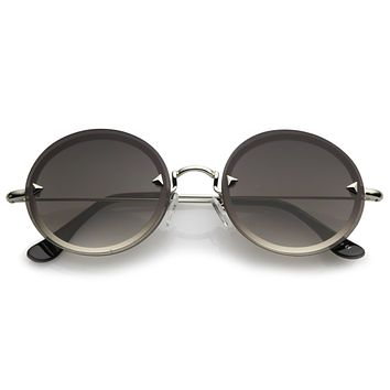 Retro Modern Round Rimless Floating Lens Sunglasses A902