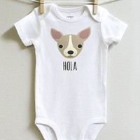 Chihuahua Baby Onesuit Bodysuit Romper for Baby Boy or Baby Girl Long or Short Sleeve 3 - 18 Months