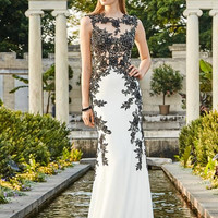COLORS 1424 Jersey Sheer Lace Prom Dress Evening Gown