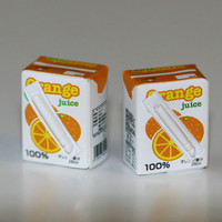 Kawaii Cute Miniature Food Earrings - 2 Boxes Orange Juice