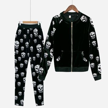 Skull Printed Two Piece Set Pullovers Women's Tracksuit With Long Pants