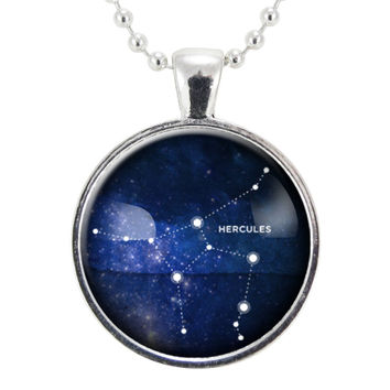 Heroic Hercules Star Constellations Necklace, Science Jewelry, Homemade Astrology Pendant Necklace