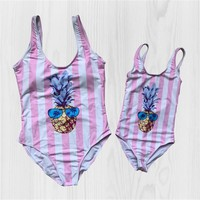 Cute Swimsuit Women Baby Matching Mother Daughter Swimwear Striped Printed Pineapple Bathing Suit Summer Wear