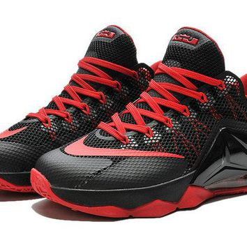 2018 Buy LeBron 12 Low Black Sport Red Crimson Brand sneaker