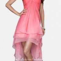 Sexy Strapless Ombre Layered High Low Prom Dresses by La Femme