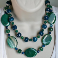 Bold Green Agate Statement Necklace, Large Chunky Emerald Agate Slab Necklace, Big Blue Faceted Agate Round Beads, Tibetan Silver Jewelry