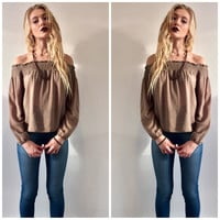 Gold and Olive Off the Shoulder Flowy Top