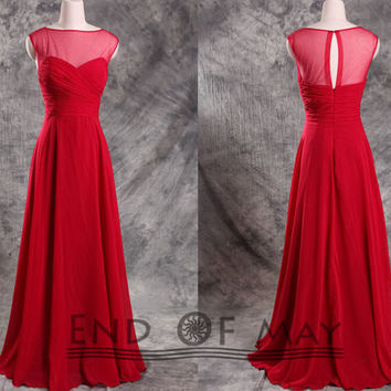 EndOfMay Red Women's Chiffon Long Bridesmaid Prom Dresses,Long bridesmaid dress,bridesmaid dresses,evening dresses,long party dresses