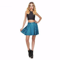 Teal Mermaid Print Skater Skirt