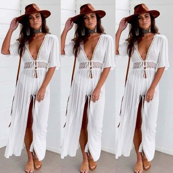 WOMENS BEACH KAFTAN MAXI DRESS COVER UP BIKINI SWIMWEAR SARONG FASHION HOLIDAY