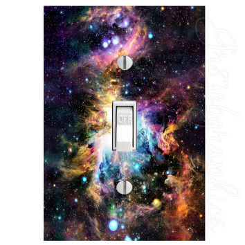 Galaxy Light Switch Cover with Decal Outer Space Stars Wall Art LS11