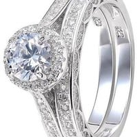 2.4 Carat Round White CZ 925 Solid Sterling Silver Wedding Band Engagement Ring Set