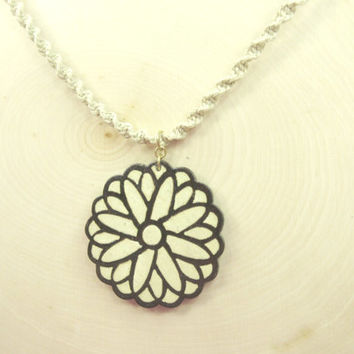 Wood Flower Necklace with Braided Hemp Cord