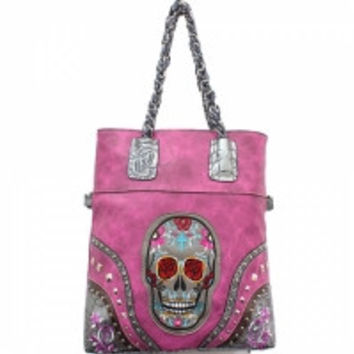 Sugar Skull Handbag With Braided Chain Shoulder Strap