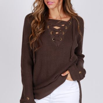 Knit Lace-Up Sweater Cement