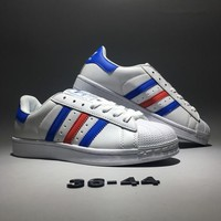 """""""Adidas Originals Superstar ll"""" Unisex Classic Casual Fashion Multicolor Stripe Shell Head Plate Shoes Sneakers Couple Small White Shoes"""