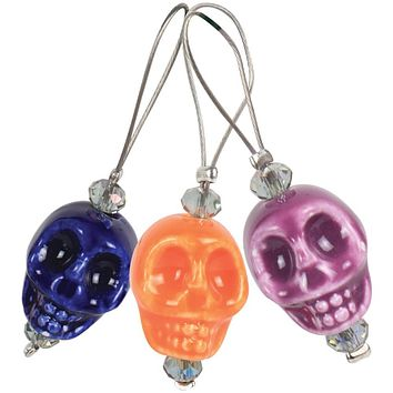Knitter's Pride Zooni Stitch Markers with colored beads - Sugar Skull - 12 Pack