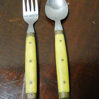 Vintage Takahashi Flatware, Yellow Bakelite and Stainless Japan, Childs Spoon & Fork, Yellow Brass Button Handles, Mid Century Modern