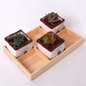 Small Wooden Tray Planter Rack Flowerpot Storage Box