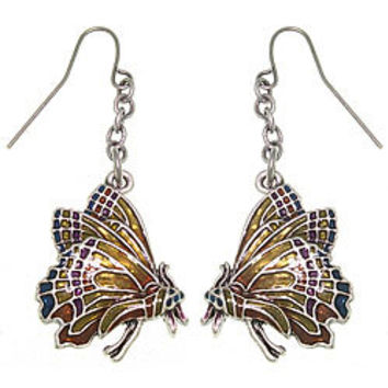 CGC Monarch Butterfly Pewter Earrings | Overstock.com