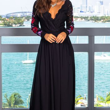 Black Lace Wrap Dress with Long Sleeves