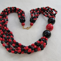 1970s-80s Multi-Strand Plastic Necklace