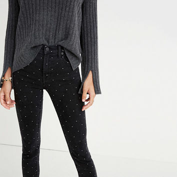 "9"" High-Rise Skinny Jeans: Metallic Dot Edition"