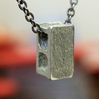 Silver Cinder Block Necklace in Solid White Bronze
