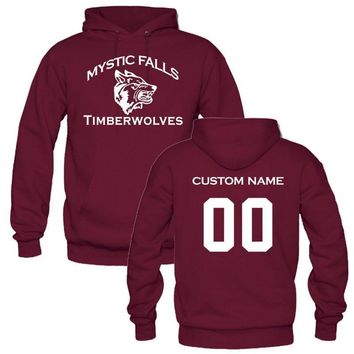 CUSTOM YOUR NAME AND NUMBER of Mystic Falls Vampire Diaries Salvatore Men Womens Hoodies Sweatshirt personalized pullover shirt