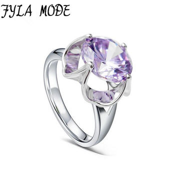 Fyla Mode Women Fashion Purple Stone Ring 5A Zircon Jewelry Gold Color Finger Rings Female Brand Wedding Engagement Jewelry
