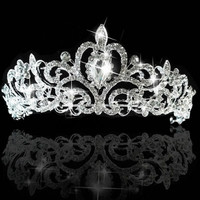 New Crystal Hair Accessory Wedding Party Tiara Crown Veil Headband