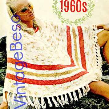 PdF Pattern Poncho Vintage Knitting PATTERN 1960s Easy Enough for Beginners Ladies Summer Boho Chic Hippie Interesting for Advanced Knitter